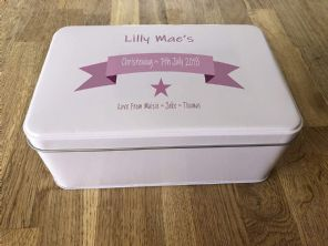 PERSONALISED Tin CHRISTENING Present ANY NAME Goddaughter Godson Names Dates etc